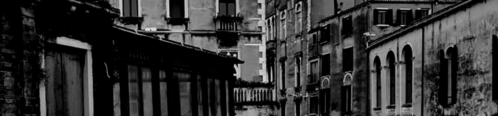 Black and white image of buildings in Venice